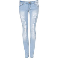 Parisian 32in Light Blue Rip Skinny Jean