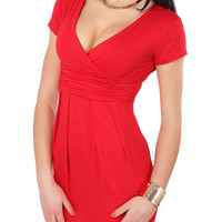 Red Short Sleeve Ruched Bodycon Dress