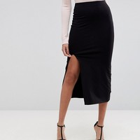ASOS DESIGN midi skirt with front split at asos.com