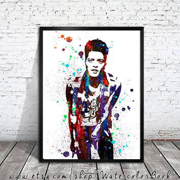 Bruno Mars Watercolour Painting Print, watercolor painting, watercolor art, Bruno Mars Illustration, Celebrity Portraits, art print