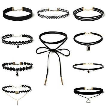 10 Pcs/pack  Black Lace Leather Velvet strip Choker Necklace Multi layers Collar  Women Jewelry