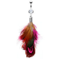 14g Hot Pink Feather Belly Button Ring Dangle Navel Body Jewelry Piercing