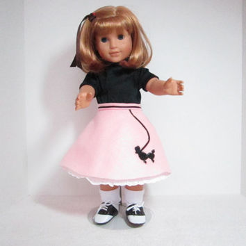 Pink Poodle Skirt for American Girl Doll