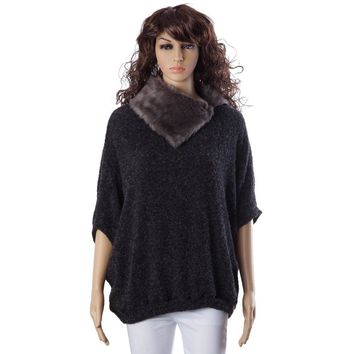 Fashionable Turtle Neck With Fur Loose-Fitting Batwing Sleeve Women's Sweater