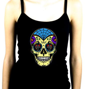 "Yellow Sugar Skull Calavera Spaghetti Strap Shirt ""Dia De Los Muertos"" Day of the Dead"