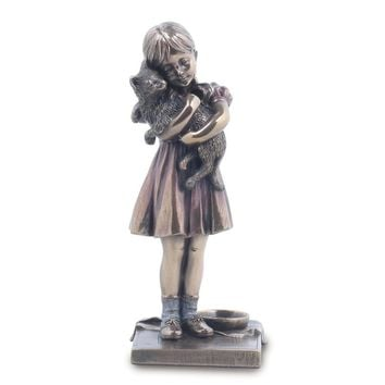 Bronze Resin Girl With Cat Figurine