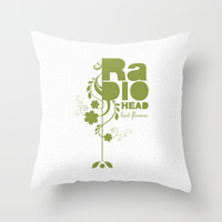 "Radiohead ""Last flowers"" Song / Green version Throw Pillow by LilaVert"
