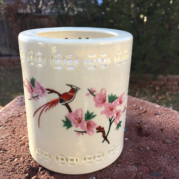 Long-Tailed Bird on Peach Blossoms Executive Porcelain Pen Holder for Desk