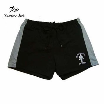 Seven Joe.New Brand men's shorts with Gold fitness bodybuilding workout shorts cotton high quality musculation