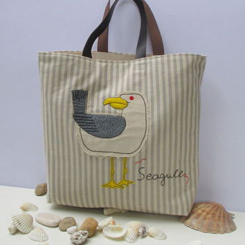 Seagull canvas tote bag, embroidered, applique, organic natural color,summer tote, beach tote, all to carry, shopper,unique,chic