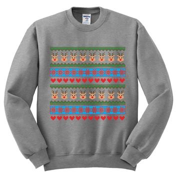 Ugly Christmas Sweater Reindeer Theme Mens Sweater