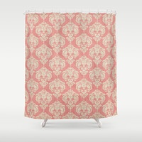 Shabby Damask Pink Shower Curtain by Ilola