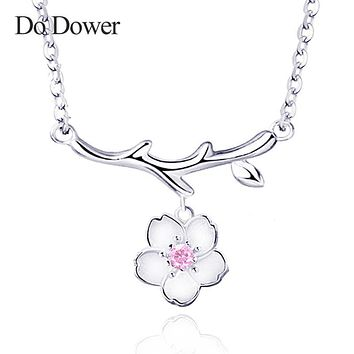 DO DOWER 925 sterling silver necklace pendant women 2017 jewelry fashion cherry blossoms valentine's Day gift 262