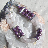 "Rose Quartz Heart & Purple Shell Gemstone Crystal Bracelet - ""Belle Amour"""