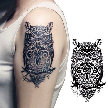 2pcs Temporary Tattoo Hand Painted Owl Tattoo Stickers Waterproof Tattoo Stickers