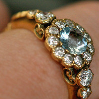 Aquamarine & Diamond Cluster Ring by Ruby Gray's | Ruby Gray's Antique & Vintage Rings