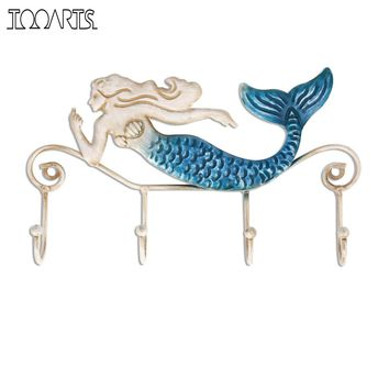 Tooarts Iron Mermaid Figurines Crafts Wall Hanger Hook Wall Mount Coats Towels Bags Key Rack Holder for Bathroom Metal Sculpture