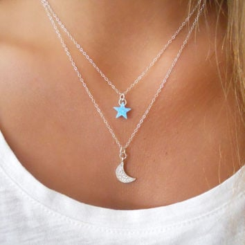 Moon And Star Silver Necklace Set. Dainty Sterling Silver Necklace Set. Layering Necklace. Crescent Moon Necklace.