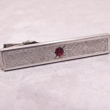 Rhinestone Tie Clip, Vintage Tie Clip, Red Rhinestone, Brushed Silver Tone, Anson Tie Clip, Valentines Day, Holiday Jewelry, Mens Formal