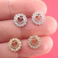 Classic Round Heart Shaped Stud Earrings Surrounded by Rhinestones