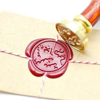 Heraldic Lion Passant Guardant Gold Plated Wax Seal Stamp x 1