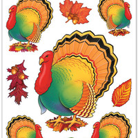 "Fall/Thanksgiving Turkey Clings Sheet - 12"""" x 17"""" Case Pack 12"