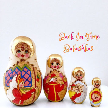 Nesting Doll. Vintage Nesting Doll. Gold Nesting Doll. Woodburned Nesting Doll. Fairy Tale Maidens. Russian Dolls. Great Holiday Gift!