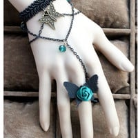 Woman Vintage Retro Gothic Lolita Elegant Black Lace Butterfly Green Rose Beads Dance Bracelet Ring on Luulla