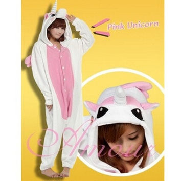 Triline New Adult Kigurumi Animal Sleepsuit Pajamas Costume Cosplay Unicorn Onesuit Pink