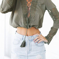 Grey Lace-up Flared Sleeves Top