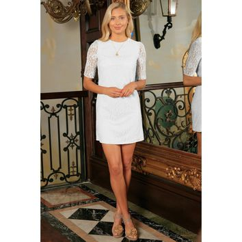 White Lace Sleeved Spring Summer Cocktail Party Shift Mini Dress Women