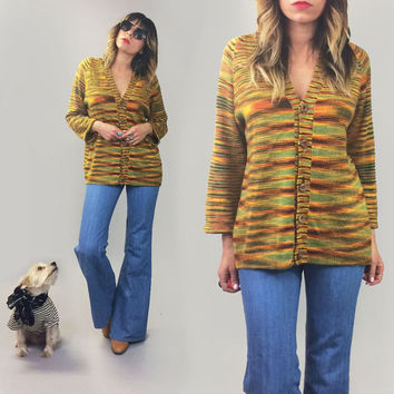 Vintage 1960's 1970's TIGER'S EYE Southwestern Navajo Space Dye Bohemian Cardigan Sweater || Size Medium