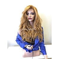 Blond Strawberry Human Hair Blend Multi Parting SWISS FULL Lace Wig - 70's Show