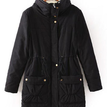Stitching Color Thick Drawstring Lapel Padded Coat