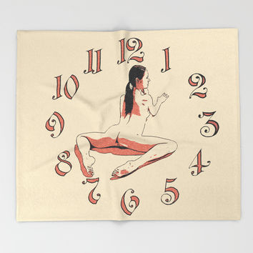 Fitness Time - yoga girl erotic artwork, slim woman nude on floor, clock and naked sporty body art Throw Blanket by Casemiro Arts - Peter Reiss
