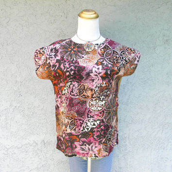 Gypsy Tribal Blouse - Vintage 80s Abstract Floral Graphic Print Top in Warm Earth Tones - Wearable Art - Small S Medium M