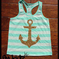 Glitter Anchor Tank - Mint