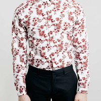 Burgundy Floral Long Sleeve Slim Smart Shirt