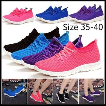2016 womens spring summer fashion new breathable sneaker casual flat light running sport shoes mesh platform shoes