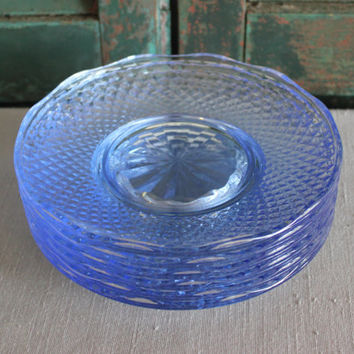 Periwinkle blue glass scalloped salad dessert plates (Set of 6) - Vintage plates, vintage dinnerware, small plates