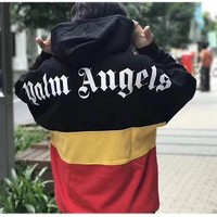 Palm Angels Hoodies New Red Yellow Black Splice Palm Angels Sweatshirts Half Zipper Pathwork Winter Palm Angels Hoodie Pullover