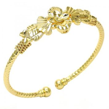 Gold Layered 07.311.0005 Individual Bangle, Flower and Heart Design, Diamond Cutting Finish, Golden Tone (03 MM Thickness, One size fits all)