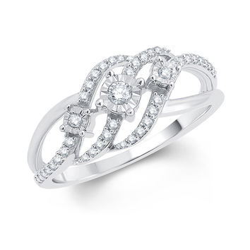 1/4 CT. T.W. Diamond Three Stone Open Wave Ring in 10K White Gold