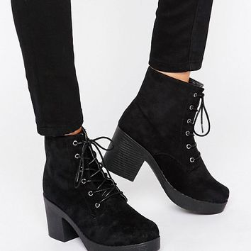 Truffle Chunky Heeled Lace Up Boots at asos.com