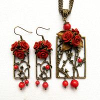 Red jewelry - Red roses - Coral jewelry - Polymer clay jewelry