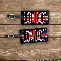 Luggage Tag Set London Union Jack Flag England Trip Metal Luggage Tag Set With Custom Info On Back, 2 Tags Choice of Straps