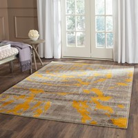 Safavieh Porcello Abstract Contemporary Light Grey/ Yellow Rug (8'2 x 11') | Overstock.com Shopping - The Best Deals on 7x9 - 10x14 Rugs