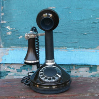 Vintage Candlestick Telephone - Rotary Phone - Made in USSR in 1990 - Home Decor