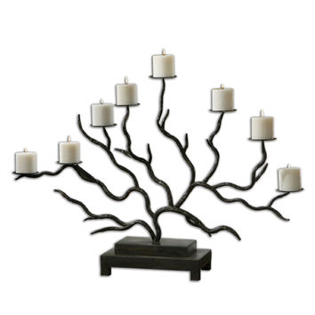 Uttermost 19866 Esher Bronze Metal and Distressed Beige Twig Candelabra