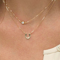 Chic Letter U Double Layer Flash Diamond Choker Necklace For Women